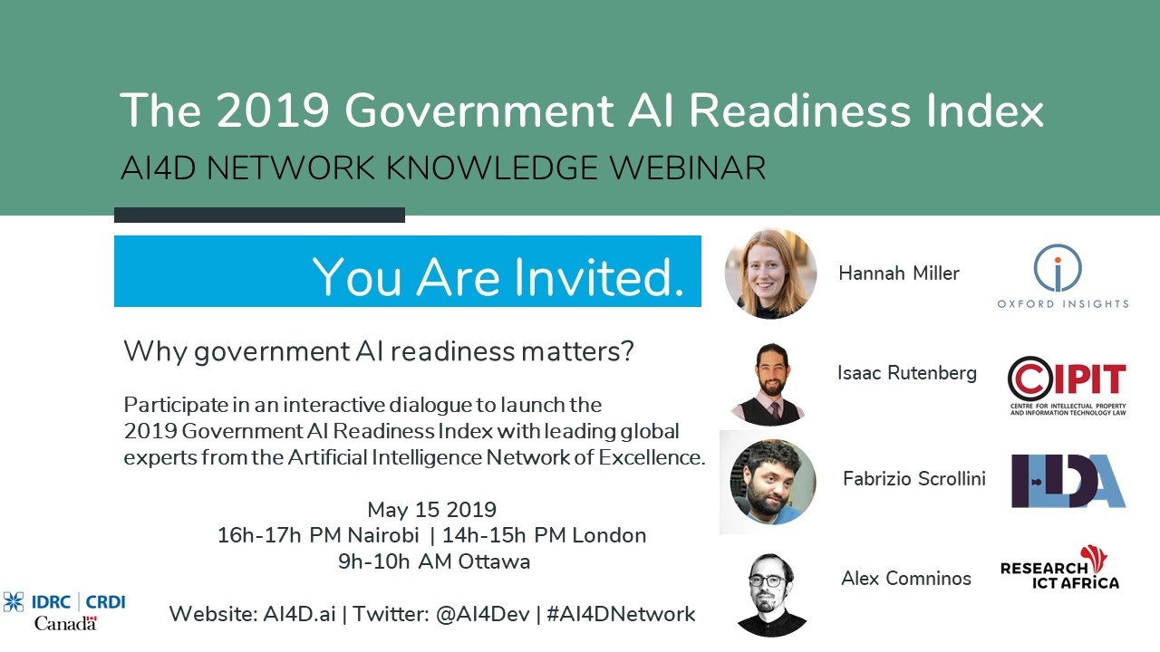 Watch the Live #AI4D Knowledge Webinar: Introducing the 2019 Government AI Readiness Index