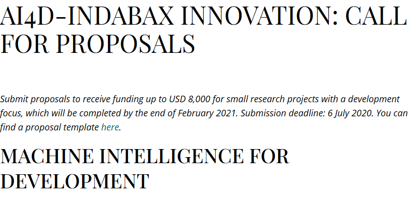 AI4D-IndabaX Innovation: Call for Proposals