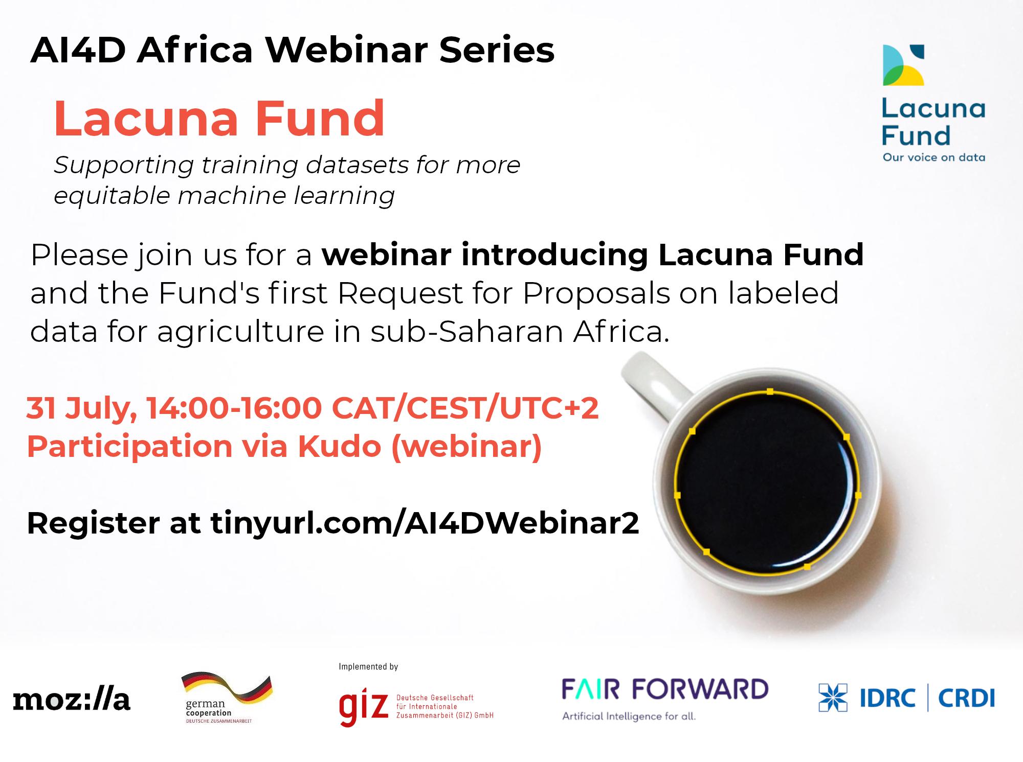 Join AI4D, Mozilla, and GIZ's FAIR Forward initiative for a webinar with the Lacuna Fund Secretariat